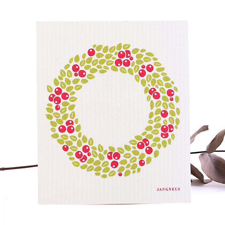 vechtík prírodná hubka na utieranie vianočný vzor červený veniec