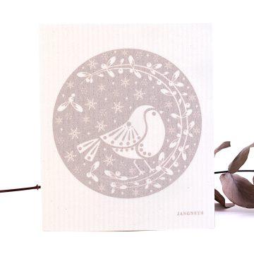 prírodná hubka na utieranie vechtík vianočný vzor vtáčik