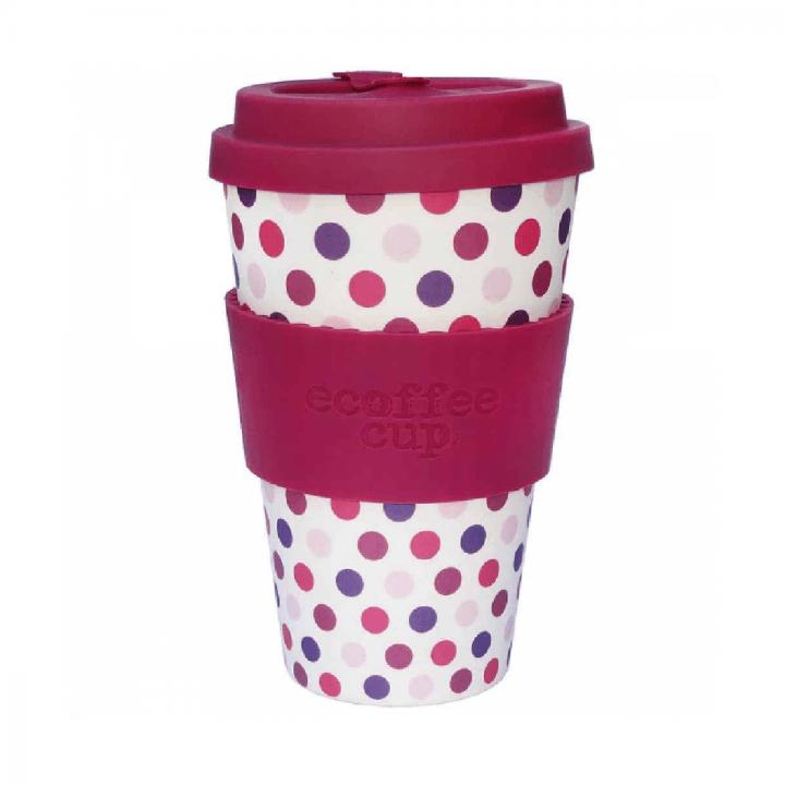 Bambusový pohár 400ml - Pink Polka