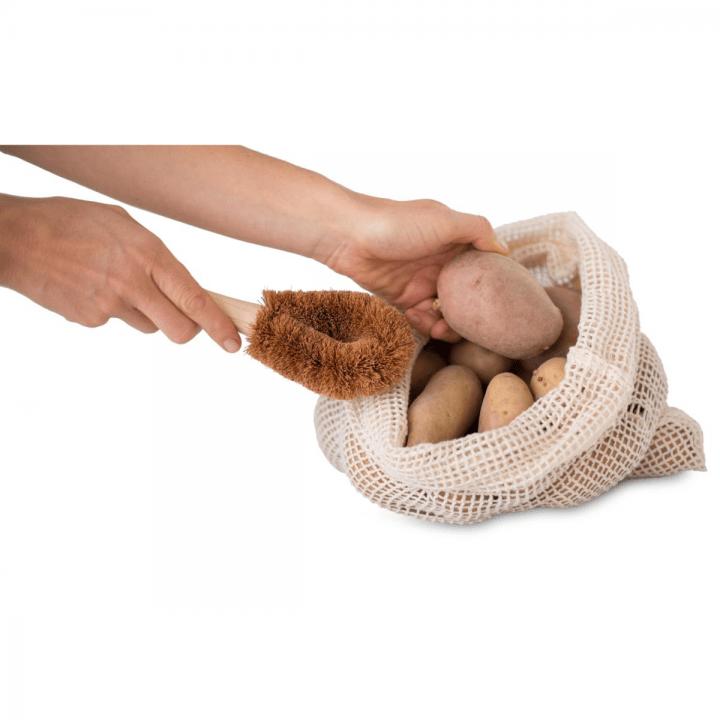 Prírodná drevená Kokosová kefa na zeleninu a riad s madlom